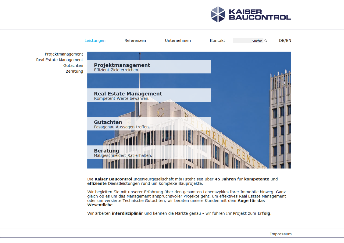 Kaiser Baucontrol mit neuem Webauftritt